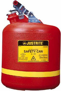 19 Litre - Round Plated Steel Trim Justrite Type 1 Non-Metallic Safety Cans