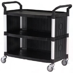 Utility Cart Large 3 Tier Service Trolley enclosed end and side panels