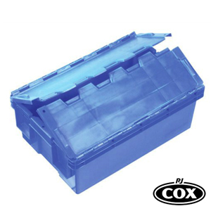 Security style crate with attached hinged lid