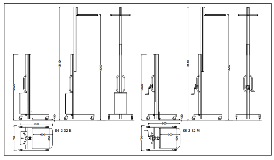 Liftaide 2 Stage Lift Trolley Specifications