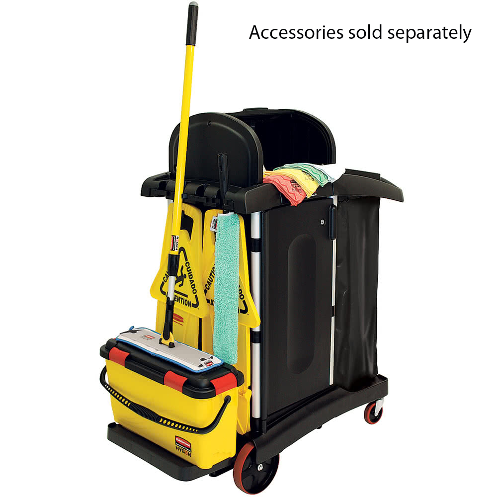 Rubbermaid 9T75 High Security Cleaning Cart with Accessories