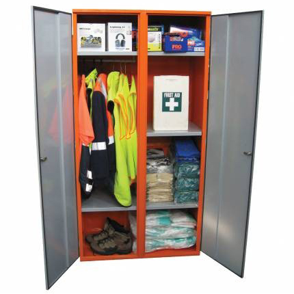 STOREMASTA PPE double door cabinet, includes hanging rail