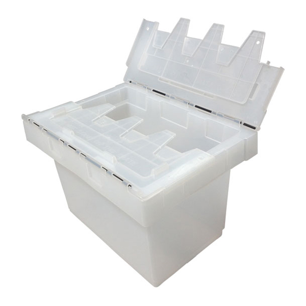 Clear Plastic Half Security Crate with attached lids