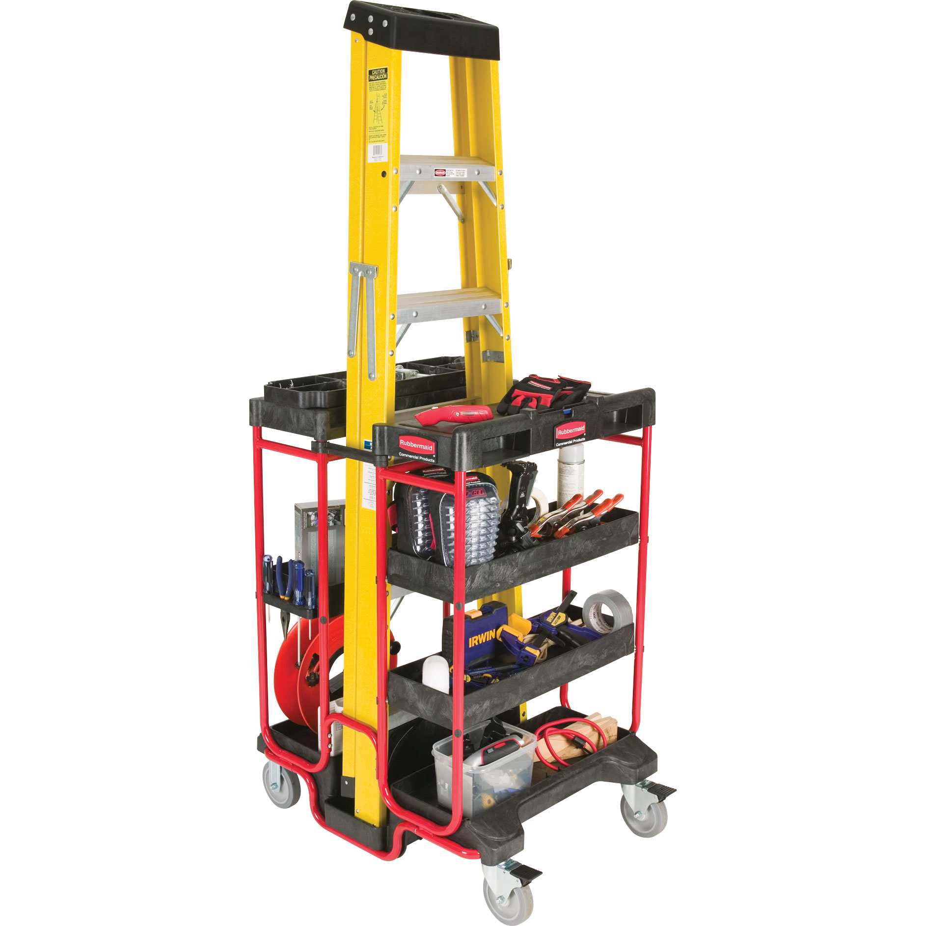 Rubbermaid Ladder Cart Trolley With Shelves Tool Holders