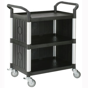 Utility Cart Small 3 Tier Traymobile Multiple Shelf Service Trolley with 2 End Panels & 1 Side Panel
