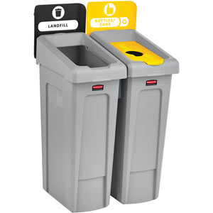Rubbermaid Slim Jim 2-Stream Recycling Station Kit with Open and Bottle Lids