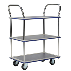 Jumbo 3 Tier Flat Bed Traymobile Shelf Trolleys