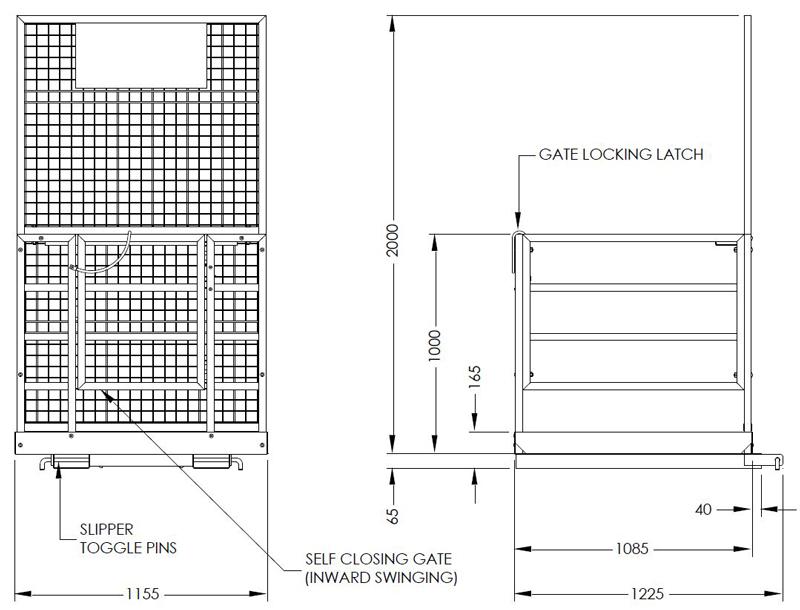 Work Platform Safety Cage Temporary Forklift Attachement