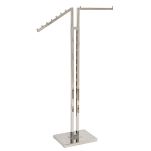 Two Arm Chrome Garment Rack straight and waterfall arms