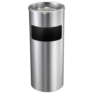 Stainless Steel Lobby Bin with Ashtray and Side Rubbish Hole