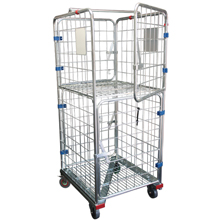 Double Door Supermarket Laundry Rollcage Trolley With Brakes