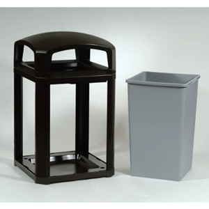 Rubbermaid Landmark Series Classic Container, Dome Top Frame with Lock Option, with FG395800 Rigid Liner