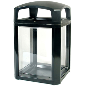 Rubbermaid Landmark Series Black Security Container with Lock and Clear Panels