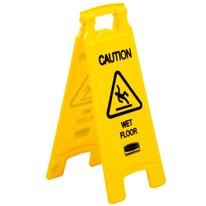 "Rubbermaid Double Sided  ""Caution Wet Floor"" Floor Safety Sign"