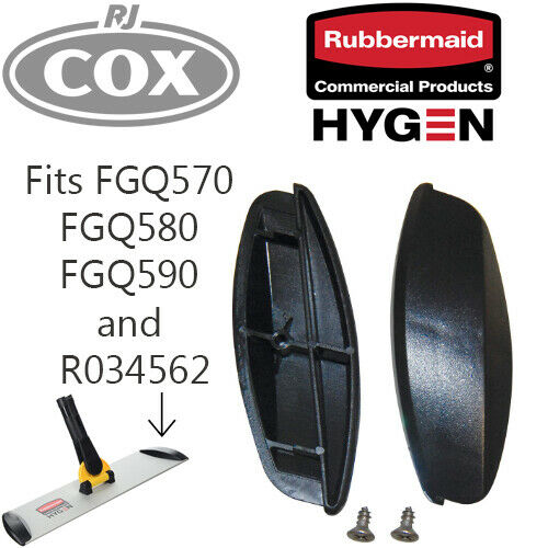 Rubbermaid Plastic End Caps for Hygen Quick Connect Frames Black