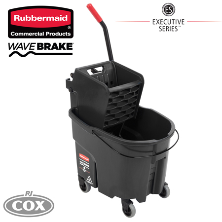 Rubbermaid Executive Series WaveBrake Black Mop Bucket with Side Press Wringer