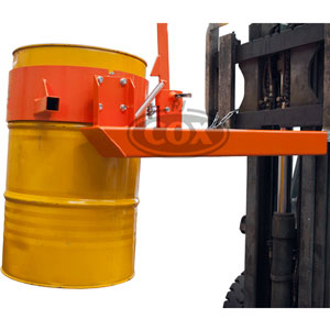 Single Drum Dumper - Manually Operated Rotating Forklift Attachment