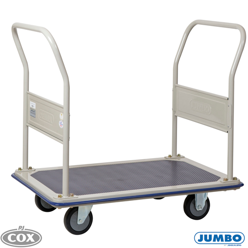 Jumbo Dual Handle Flat Bed Medium Platform Trolleys 370kg Rated Truck
