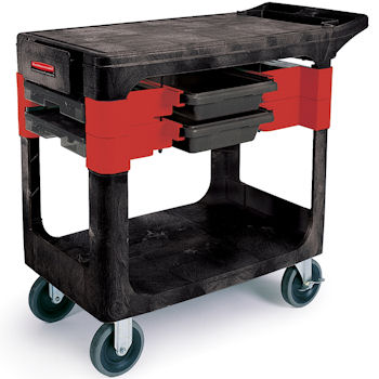 Rubbermaid 6180 Trades Cart includes boxes and parts bins