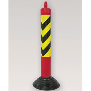 Flexible Plastic two piece Bollard, knock down bollard with chain loop