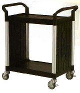 Small 2 Tier Utility Cart Traymobile Multiple Shelf Service Trolley with 2 End Panels