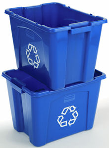 Rubbermaid 5714-73 53 Litre Recycling Box Recycling Boxes Stackable recycling boxes made out of post-consumer recycled resin (PCR) perfect for commercial recycling use