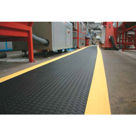 Classic Diamond Plate Foam Mats with Yellow Edges - Foam Laminated Matting