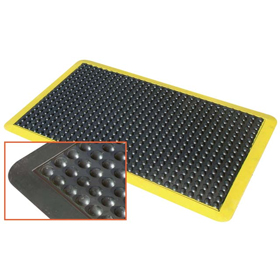 Anti-fatigue Bubble Mats - Black with Yellow Border