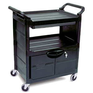 Rubbermaid Service Carts 3457 Utility Cart with Lockable Doors, Sliding Drawer