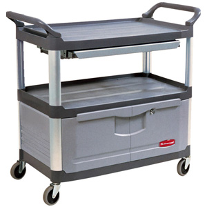 Rubbermaid 4094 Instrument Cart with Lockable Doors and Sliding Drawer