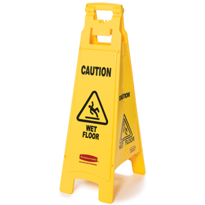 "Rubbermaid 611477 4 Sided Floor Sign with ""Caution Wet Floor"""