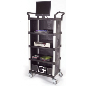 Rapini Small 5 Tier Utility Cart Traymobile Multiple Shelf Service Trolley with 3 Side Panels
