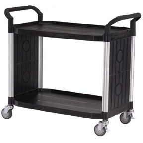 Rapini Large 2 Tier Utility Cart Traymobile Multiple Shelf Service Trolley with 2 End Panels Trolley