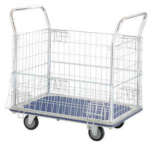 Jumbo Flat Bed Trolley with Folding Wire Mesh Sides