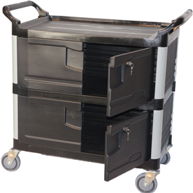 Rubbermaid Minibar Cart With Key Lockable Security Shelves