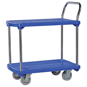 Jumbo 2 Tier Plastic Twin Deck Trolley