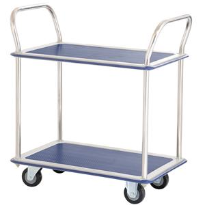 Jumbo 2 Tier Flat Bed Traymobile Shelf Trolleys