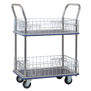 Jumbo 2 Tier Trolley with Wire Mesh Surrounds Traymobile