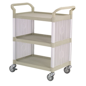 Rapini Small 3 Tier Utility Cart Traymobile Multiple Shelf Service Trolley with 2 End Panels