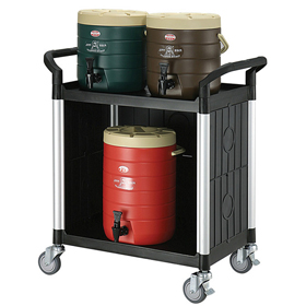 Rapini Small 2 Tier Utility Cart Traymobile Multiple Shelf Service Trolley with 3 Side Panels