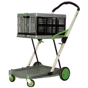 Clax Cart Trolley - 2 Tier Collapsible Folding Trolley