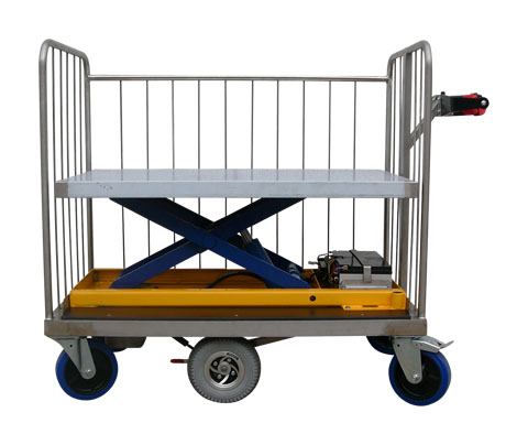Powered Platform Trolley with Electric Scissor Lift Rising Base