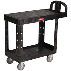 Rubbermaid 4505 Small 2 Tier Heavy Duty Utility Cart w/Flat Shelf