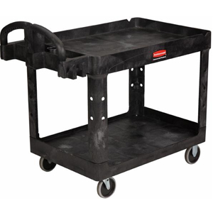 Rubbermaid 4520-88 Medium 2 Tier Heavy Duty Utility Cart w/Lipped Shelf