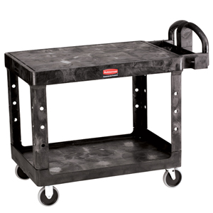 Rubbermaid 4525 Large 2 Tier Heavy Duty Utility Cart w/Flat Shelf