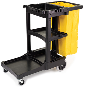 Rubbermaid 6173 Janitor Cart w/Zippered Yellow Vinyl Bag