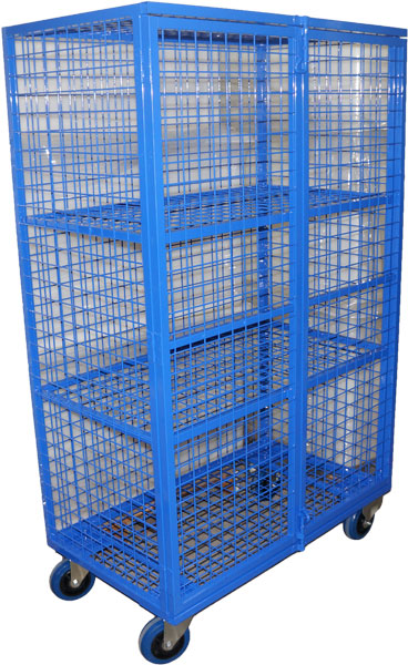Security Cage Trucks High Volume Enclosed Wire Mesh Trolley