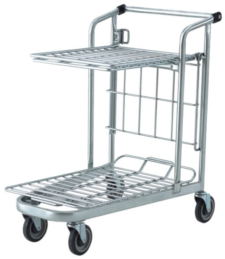 Flat Shelf, 2 Tier Trolley with Tilting Top Tray